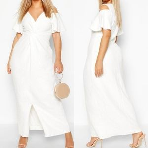 Boohoo Occasion Plus Sequin Knot Front Maxi Dress